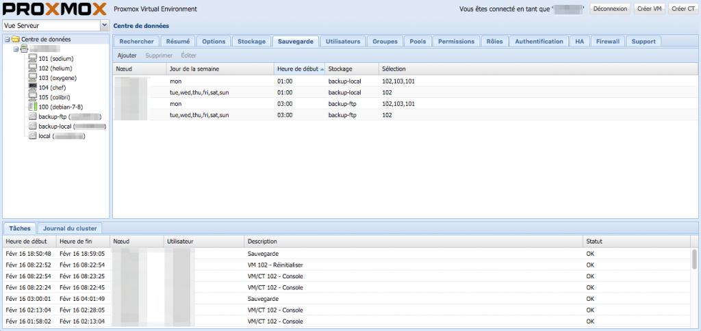 Partie de l'interface de Proxmox VE permettant de paramétrer la sauvegarde des machines virtuelles / conteneurs hébergés sur le/les hôtes.