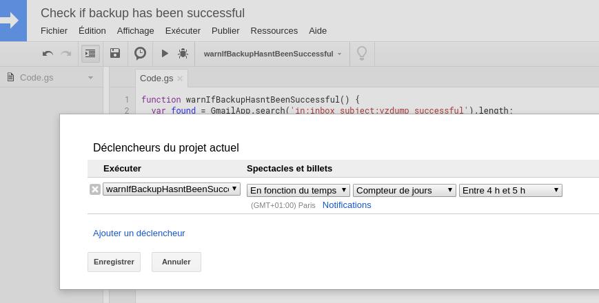 Capture d'écran de l'interface Google Script permettant la définition d'un déclencheur